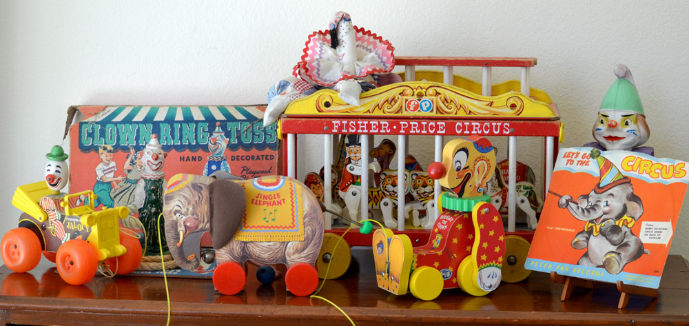 A few of Eskander's vintage circus toys, made without gender-specific cues.