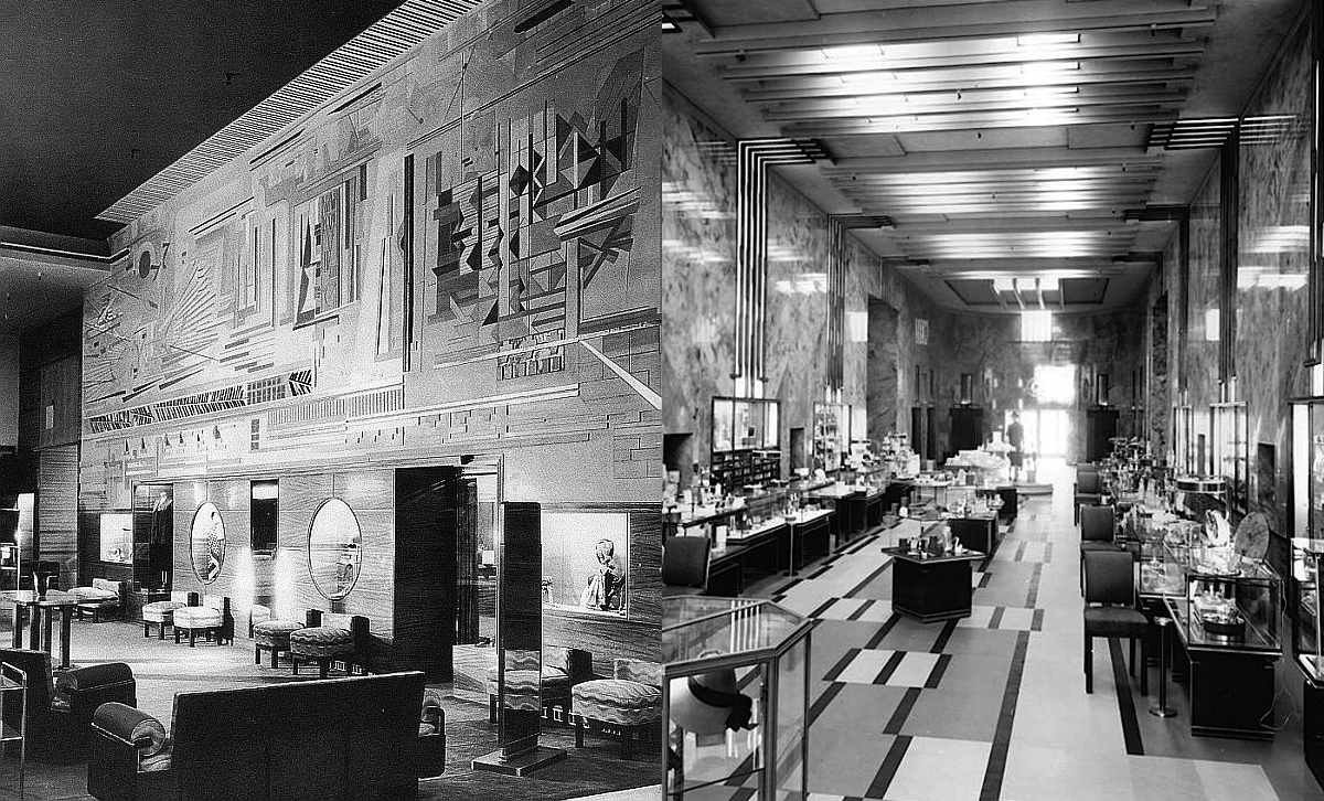 Eleanor LeMaire was in charge of overseeing the interior design of the Bullock's Wilshire, which was all about the emotional experience of the store, which opened in 1929. Jocks Peters was one of the most important designers on the project, and Henry Sachs painted the ceiling mural. (Via TenOver6.com)