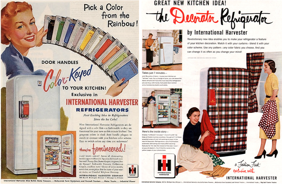 "To further feminize its ""femineered"" freezers, IH offered ""Color-Keyed"" door handles and provided instructions to help users match the doors of their refrigerators to, say, their drapes."