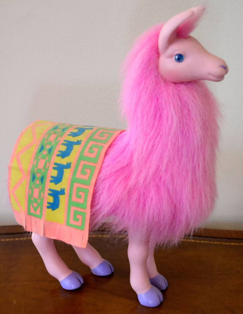 Eskander designed this pink Dolly Llama figure as part of Hasbro's Jem line in the 1980s.