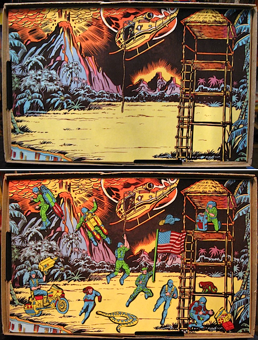 When the action-figures craze hit, Colorforms responded by licensing G.I. Joe. The top photo shows the empty play board, while the bottom one has been filled up with forms.
