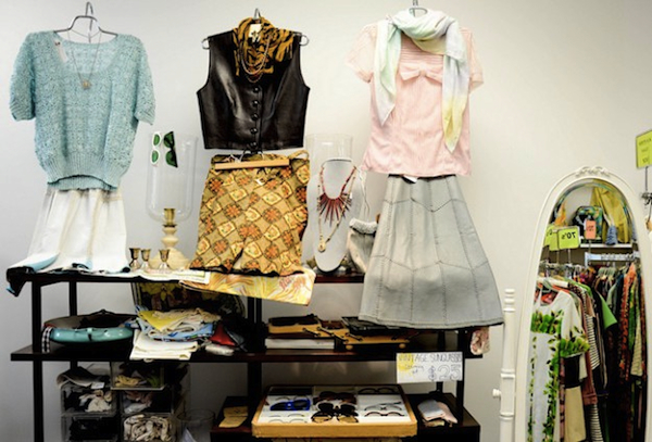 "Vintage Virtuosa in Westport, Connecticut, a store that's featured in ""Glad Rags,"" helpfully combines vintage tops, skirts, and accessories in its displays. (Via the gladragsdoc Flickr)"