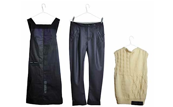 "Three pieces from the Energy Water Fashion range of clothing by Emma Rigby, designed to reduce washing through deliberate labeling (the dress), fit (the pants), and the use of low-laundering fiber (knitted top). (Photo by Lukas Demgenski, from ""Fashion & Sustainability"")"