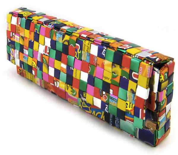 This clutch purse is made of discarded candy wrappers. (Via SourceForge)