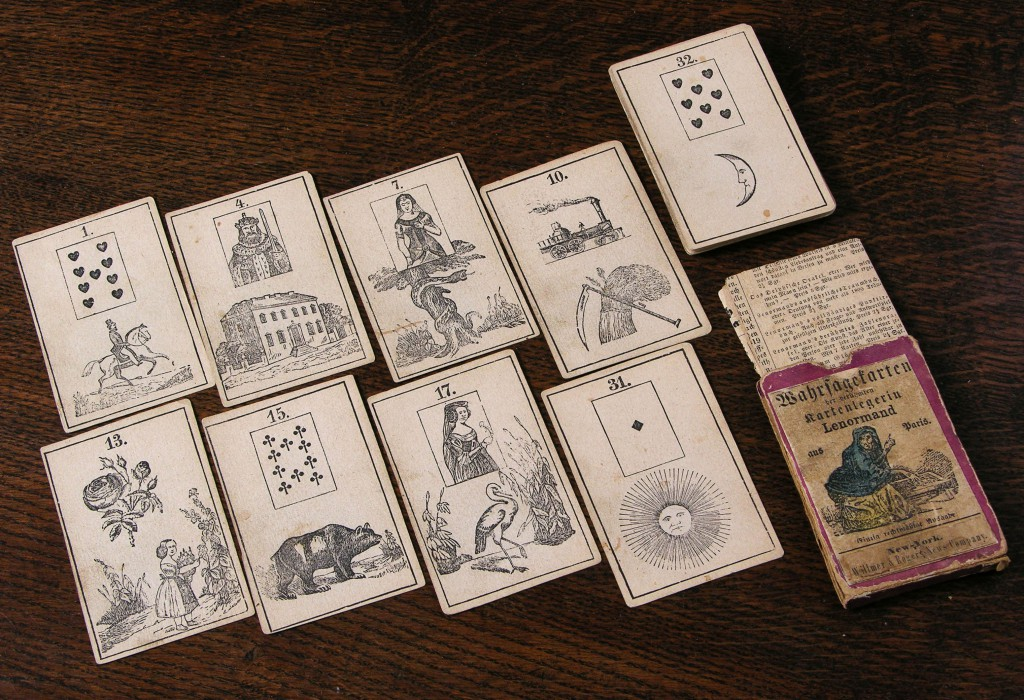 This Lenormand-style oracle deck shows a mixture of playing card and fortune-telling illustrations, circa 1870. Photo courtesy Bill Wolf.