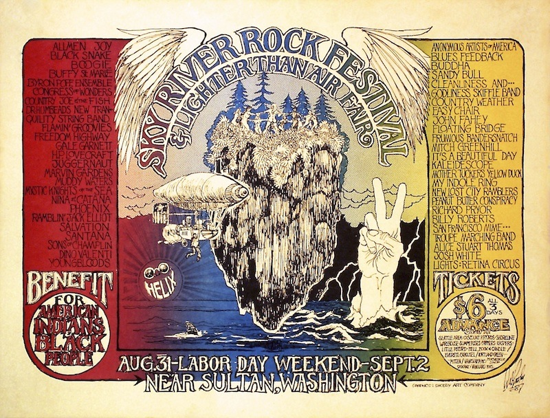 Walt Crowley designed two of the four posters created for the Sky River Rock Festival in 1968, including this one. The outdoor festival is thought to have given East Coast promoters the idea for Woodstock, which was held in 1969.