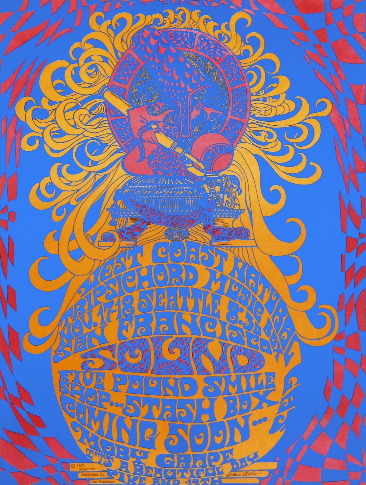 "Rock-band manager Matthew Katz promoted shows in Seattle as ""San Francisco Sound."" Unlike at Eagles Auditorium, posters such as this one by Wallace Studio were produced for each concert, but the enterprise lasted barely half a year."