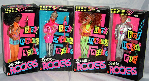 "In 1986, Barbie and the Rockers were re-released with ""Real Dancing Action."" Ken even got to join the band. (Via Tsaki's Toybox)"