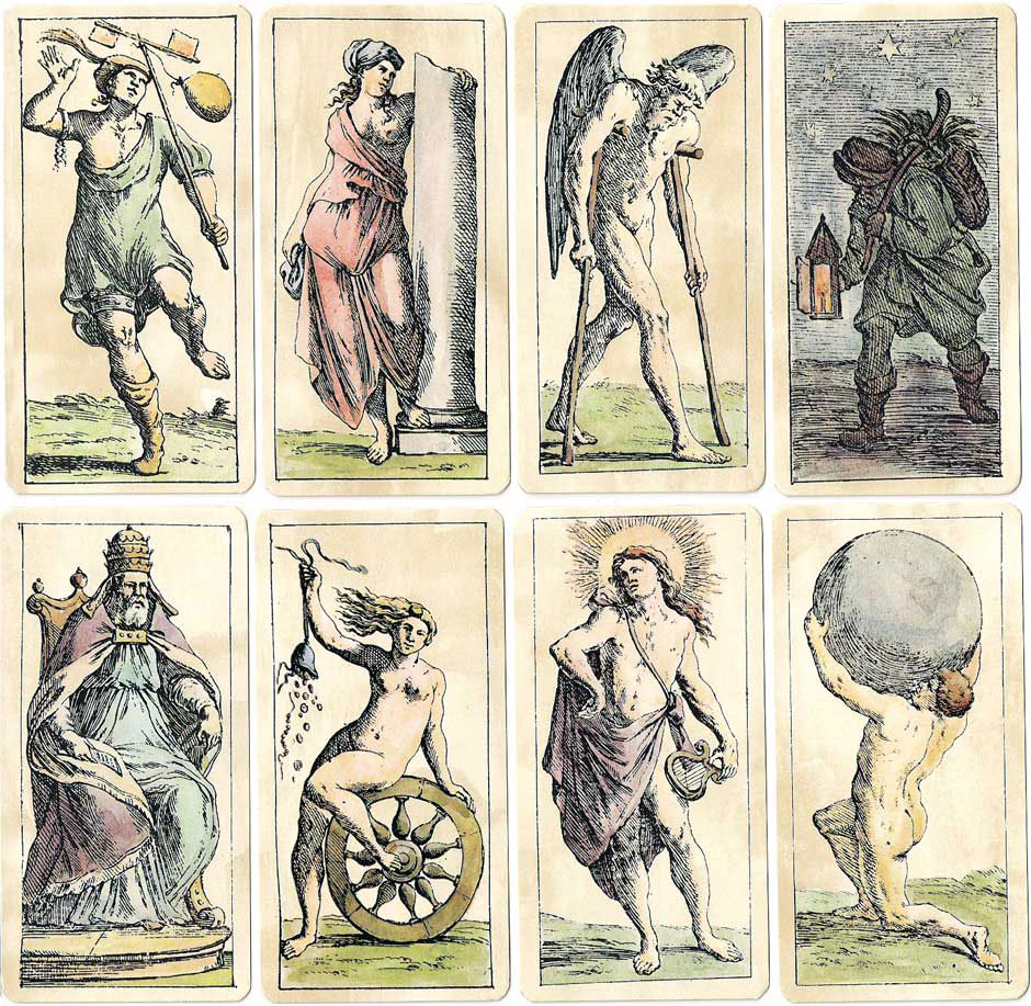 Trump cards from the Tarrocchini Bolognese designed by Giuseppe Maria Mitelli, circa 1664.