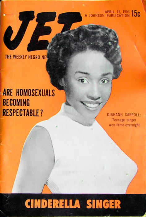 "Diahann Carroll on the April 15, 1954, cover of ""Jet."""