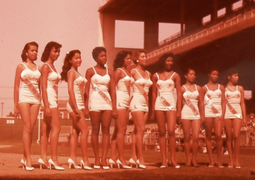 "Contestants in a ""Negro beauty pageant"" in Los Angeles in 1955. The third woman from the left is dancer and model Jeanna Limyou. (From the collection of Jim Linderman, vintagesleaze.blogspot.com)"