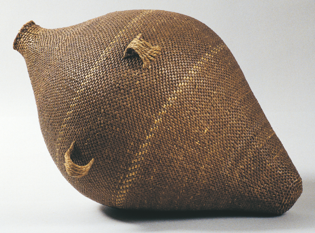 This late 19th-century Paiute seed storage jar uses whole willow rods for the warp and split willow for the weft—pine pitch turned an amphora like this one into a water jar. Courtesy Kania-Ferrin Gallery. Photograph by Joe Ferrin.