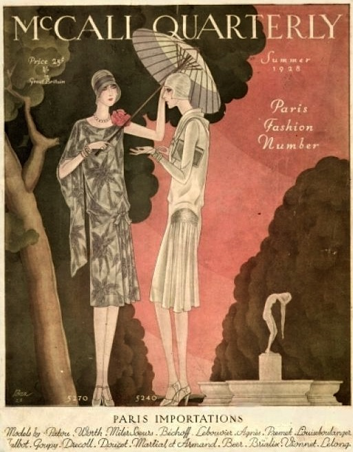 Loose-fitting drop-waisted dresses were the height of elegance in the 1920s, as you can see on the cover of the Summer 1928 issue of McCall Quarterly. (Via HubPages.com)