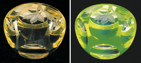 "This contemporary amber or topaz paperweight from England fluoresces green when exposed to UV light (right). Photo via <em><a href=""http://www.schifferbooks.com/vaseline-glassware-fascinating-fluorescent-beauty-3468.html"">Vaseline Glassware</a></em> by Barrie Skelcher."