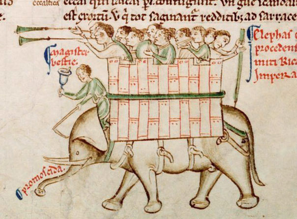 An early elephant image by Matthew Paris in his Chronica Maiora II, c. 1235-1259. (Parker Library, Corpus Christi College, Cambridge, MS 16, fol. 151v.)