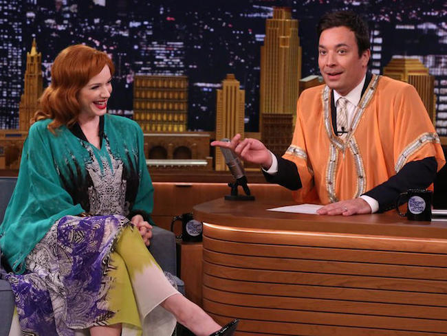 "Christina Hendricks and Jimmy Fallon talked caftans on ""The Tonight Show"" in April 2014. (Via NBC.com)"