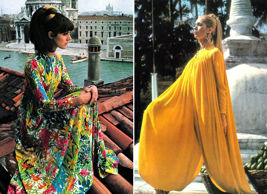 "Left, a floral caftan from the December 1966 issue of ""Vogue UK."" Right, Isa Stoppi wears a piece that combines a caftan and harem pants in ""Vogue UK"" in 1966. (Photo by Henry Clarke, images via Shrimpton Couture)"