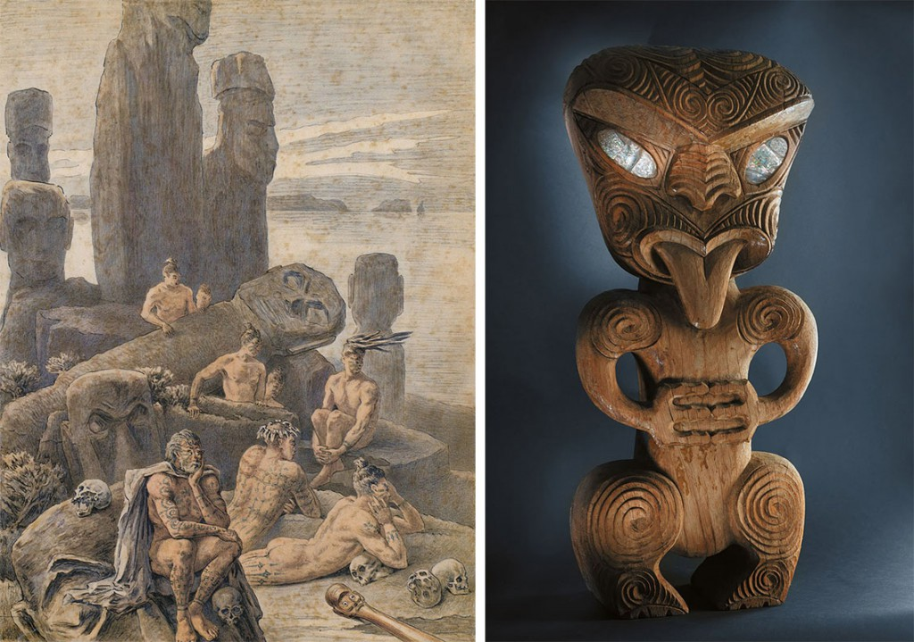 "Left, an illustration of Easter Island natives by Pierre Loti, circa 1872. Right, a mid-century sculpture in the Maori style used at the now-defunct California amusement park ""The Tikis."""