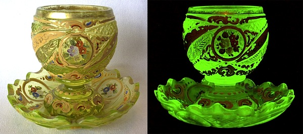 "A Bohemian espresso cup and saucer produced between 1850 and 1860 for the Persian market. Natural light on left, UV light on right. Photos via Dave Peterson at <a href=""http://www.vaselineglass.org/"">VaselineGlass.org</a>"