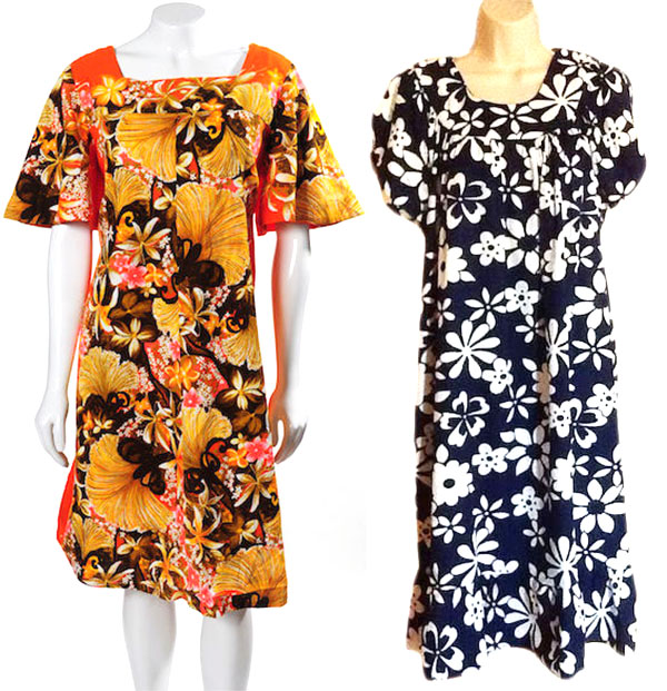 Floral-print Hawaiian muumuus were popular house dresses in late '50s and early '60s. (Via eBay)