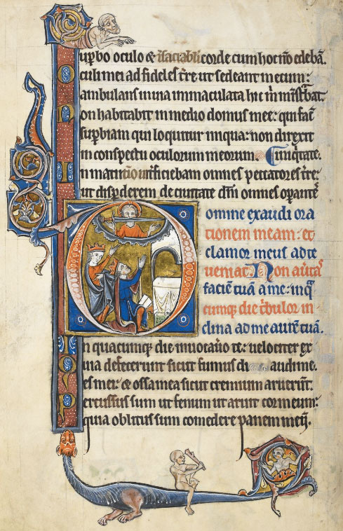 Top: Wild animals at war in the Breviary of Renaud and Marguerite de Bar, Metz ca. 1302-1305. (British Library, Yates Thompson 8, f. 294r.) Above: A typical page from the Rutland Psalter shows a variety of decorative marginalia. (British Library Royal MS 62925, f. 99v.)