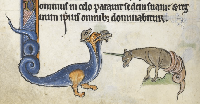 Magical beasts in the Rutland Psalter, c. 1260. (British Library Royal MS 62925, f. 101v.)