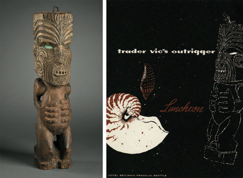 Left, the original Maori Tiki exhibited at the California Midwinter Exhibition in 1894. Right, a Trader Vic's menu from the 1950s featuring a stylized version of the Maori Tiki (from the Mimi Payne Collection).