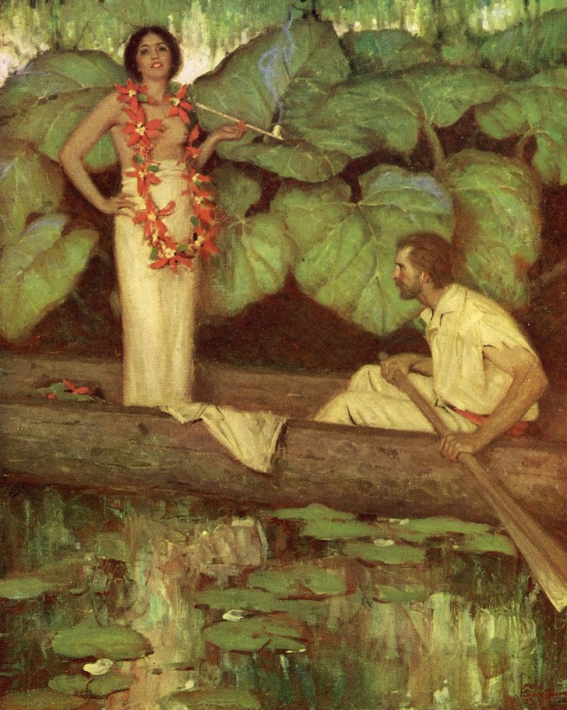 "This illustration for the 1923 edition of Herman Melville's ""Typee"" by Mead Schaffer captures the Western male fantasy of Polynesian life."