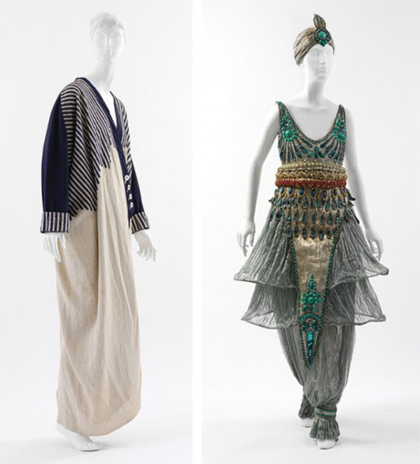 "Paul Poiret earned the nickname ""Pasha of Paris"" because of his obsession with the Near, Middle, and Far East. Left is a 1912 coat, and right is a 1911 fancy costume dress clearly inspired by Ballets Russes' ""Scheherazade."" (Via Heilbrunn Timeline of Art History, The Metropolitan Museum of Art)"