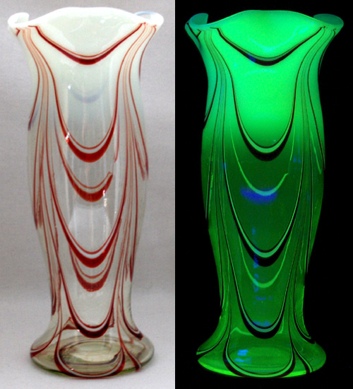 "The drape-like design of this Thomas Webb & Sons vase is called Filomentosa. Circa 1900, in normal light (left) and UV (right). Photo via Dave Peterson at <a href=""http://www.vaselineglass.org/"">VaselineGlass.org</a>"