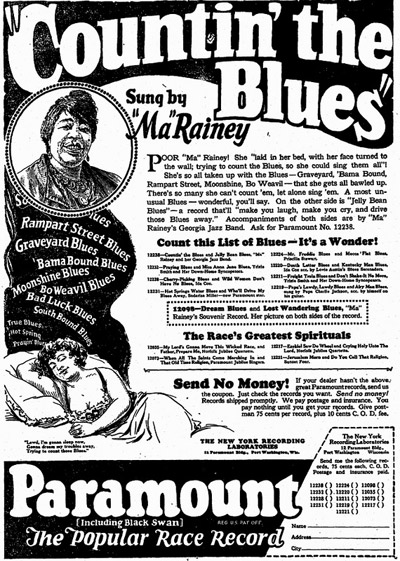Ma Rainey recorded 92 sides for Paramount; she was one of their biggest sellers. (Via Jas Obrecht Music Archive)