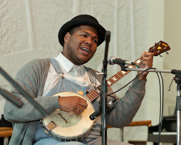 "Jerron ""Blind Boy"" Paxton, who is 25 years old, is both a 78 collector and musician reviving old-timey blues and jazz. (Photo by Lonnie Webster, via High Country Press)"