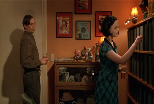 "In the 2001 movie ""Ghost World,"" Enid (Thora Birch) peruses the 78 collection belonging to Seymour (Steve Buscemi). The collection of records, posters, and artifacts actually belong to the film's director, Terry Zwigoff."