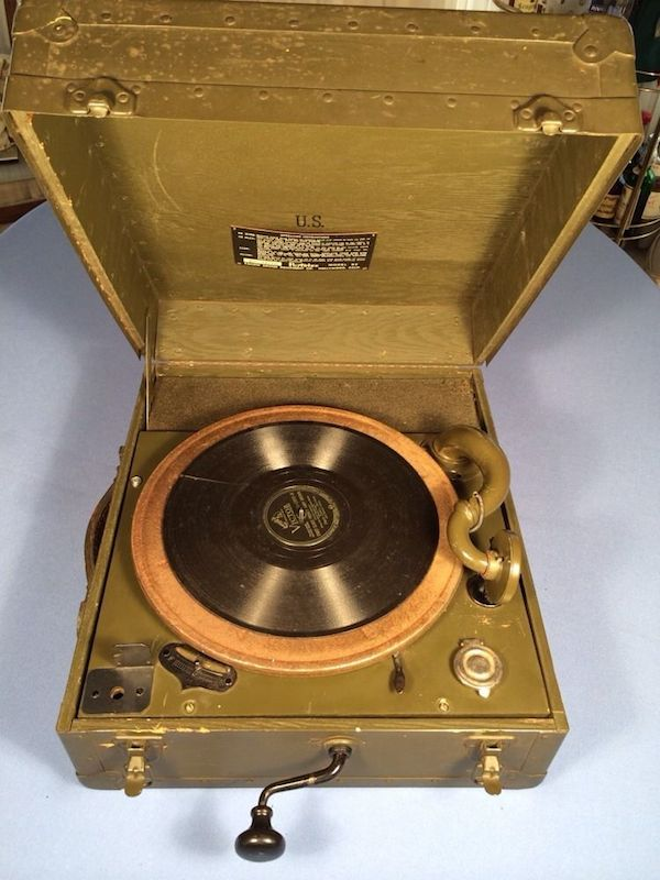This portable phonograph was used by the U.S. Army during World War II.