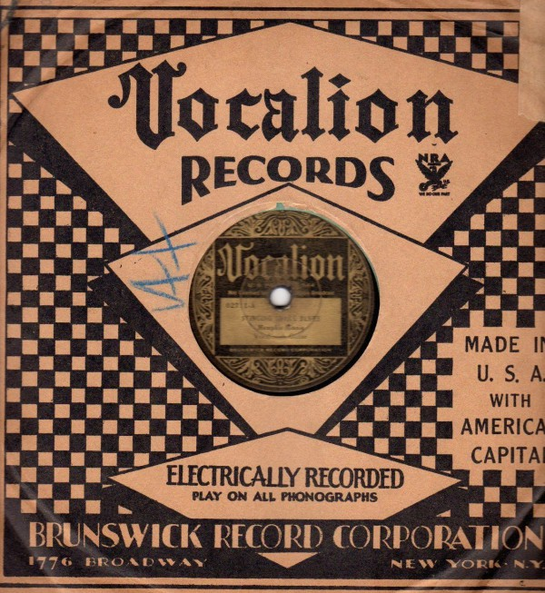 78s, like this Memphis Minnie record on Vocalion, often came in paper sleeves with record-label branding on them