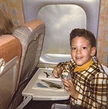 Top: Southwest stewardesses in 1971 (Via Museum of Flight) Above: Cliff Muskiet on a KLM flight as a boy. (Via Uniform Freak)