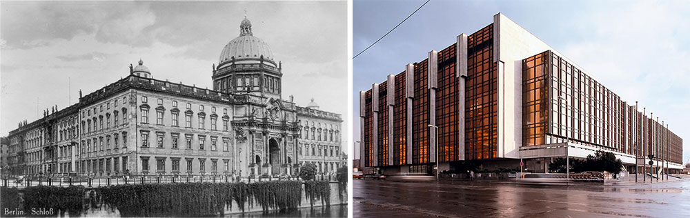 Left, Berlin's old City Palace, and right, the Palace of the Republic, constructed by the GDR. Today, the Baroque palace on the left is being rebuilt amid much controversy.