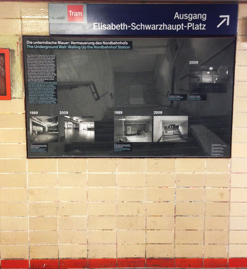 "The Nordbahnhof train station, which once fell along the border between East and West Berlin, is an active station and a memorial. Displays explore the effects of war on Berlin's transit system and the use of empty ""ghost stations"" while Berlin was divided."