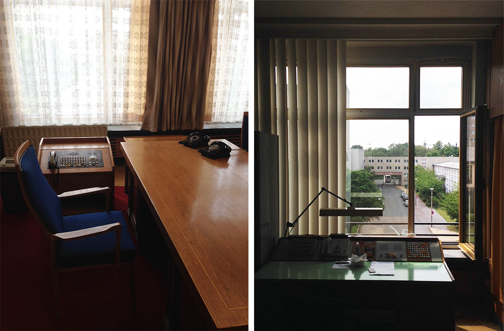 The bland, mid-century interiors at Berlin's Stasi Museum, which documents the incredible invasiveness of East German authorities.