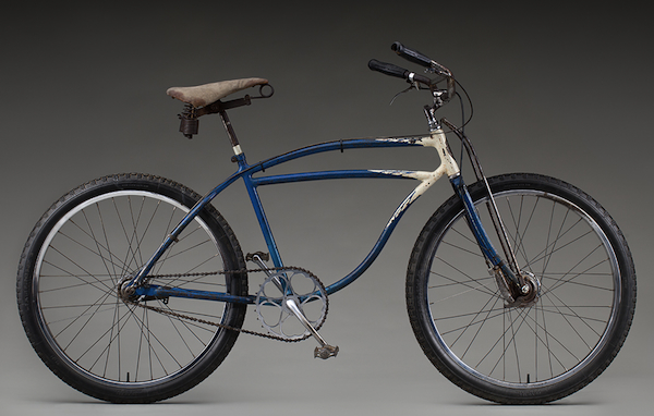 Joe Breeze modified a 1941 Schwinn for riding around Mt. Tam by upgrading the front drum brake and adding a steel reinforcing bar to the handlebars.