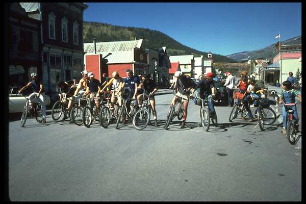 Riders line up in 1978 for the second Pearl Pass Tour in Crested Butte, Colorado.
