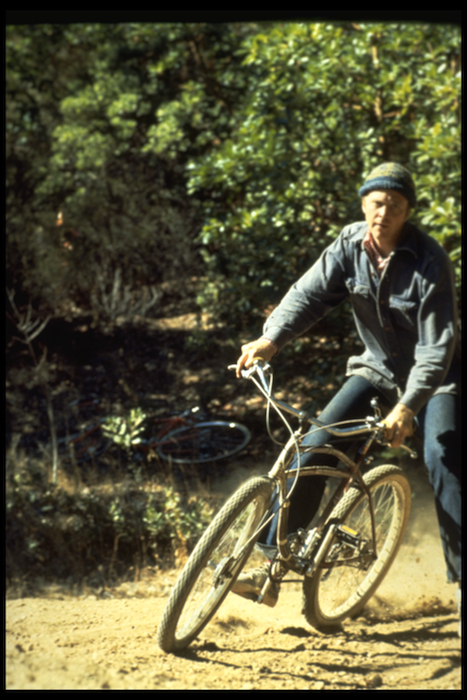 Gary Fisher giving a 1941 Schwinn a workout at Camera Corner, 1976 or '77.