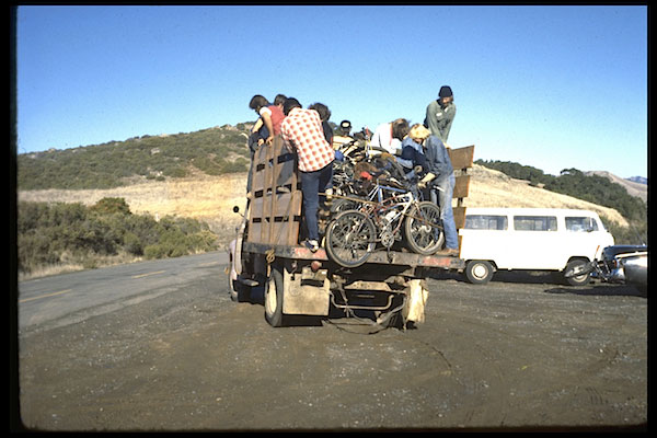 As Repack became a regular event, riders would load their bikes into the back of Fred Wolf's one-ton flatbed to hitch a ride to the lot at Azalea Hill.