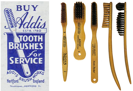 An advertisement and selection of bone-handled toothbrushes made by Addis' company (eventually renamed Wisdom Toothbrushes), mid-19th century.