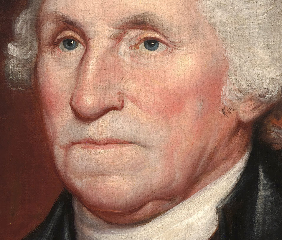 A detail of Rembrandt Peale's first portrait of George Washington reveals a discolored scar along his left cheek likely caused by dental issues.