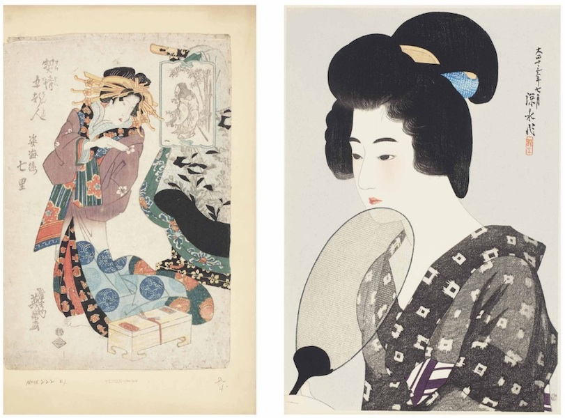 Japanese prints from Huguette's collection included, at left, a standing beauty by Yeisen Keisai and, at right, a beauty with a fan by Ito Shinsui dated July 1924. (Via Christies.com)