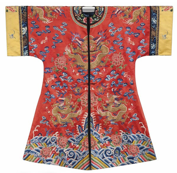 A Chinese red silk embroidered robe. (Via Christies.com)