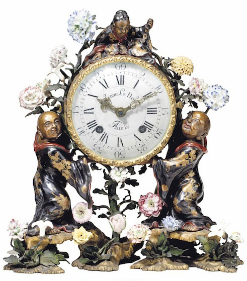 A Louis XV clock circa 1750 with three figures attributed to Martin Frères and movement by Etienne Le Noir sold for $137,00. (Christies.com)