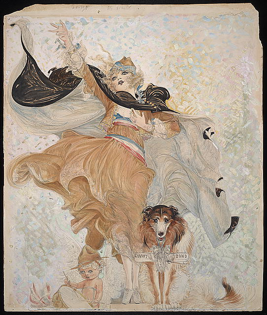 "Nell Brinkley's World War I nurse Golden Eyes and her collie Uncle Sam in ""Golden Eyes and Her Hero Bill"" for ""American Weekly."" (Via WikiCommons)"