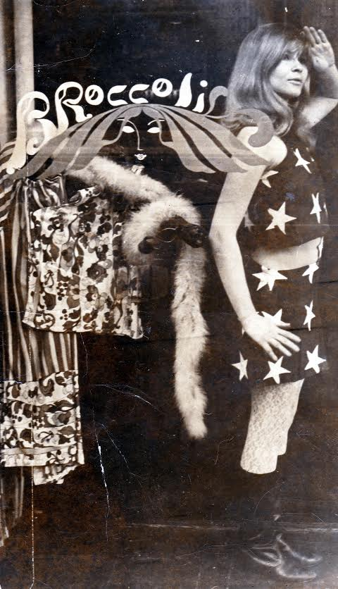 Trina Robbins poses in the window of her Lower East Side boutique, Broccoli, wearing a dress she made from an American flag. (Photo courtesy of Trina Robbins)